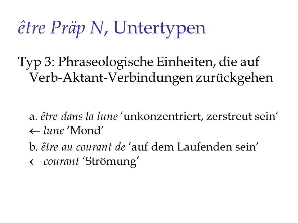 être Präp N, Untertypen Typ 3: Phraseologische Einheiten, die auf Verb-Aktant-Verbindungen zurückgehen.