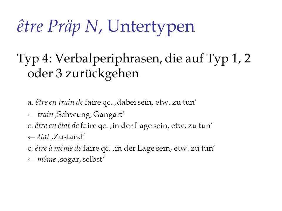 être Präp N, Untertypen Typ 4: Verbalperiphrasen, die auf Typ 1, 2 oder 3 zurückgehen. a. être en train de faire qc. 'dabei sein, etw. zu tun'