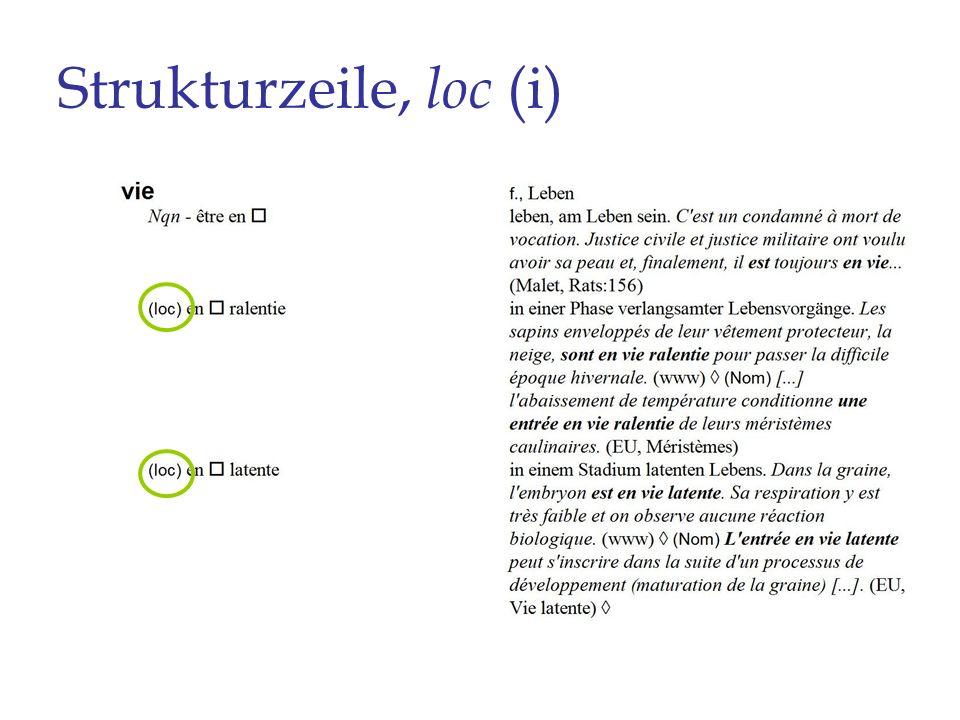 Strukturzeile, loc (i)