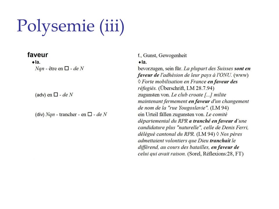Polysemie (iii)