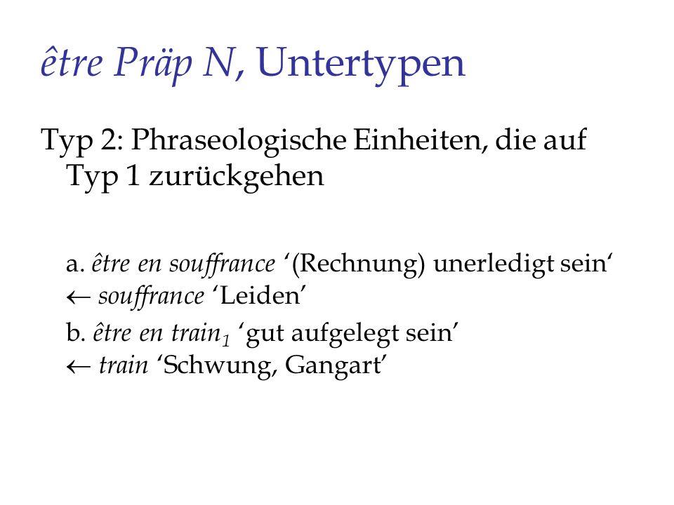 être Präp N, Untertypen Typ 2: Phraseologische Einheiten, die auf Typ 1 zurückgehen.