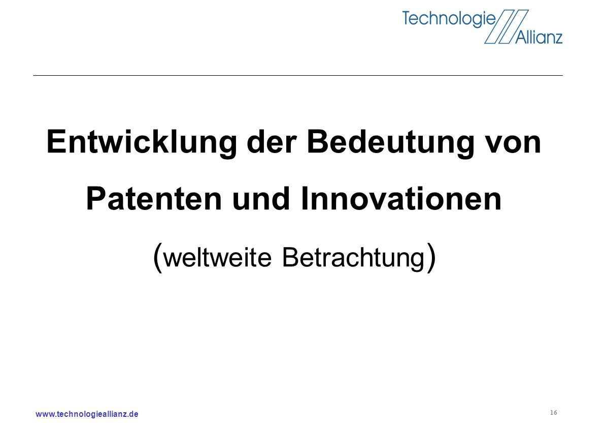 Entwicklung der Bedeutung von Patenten und Innovationen