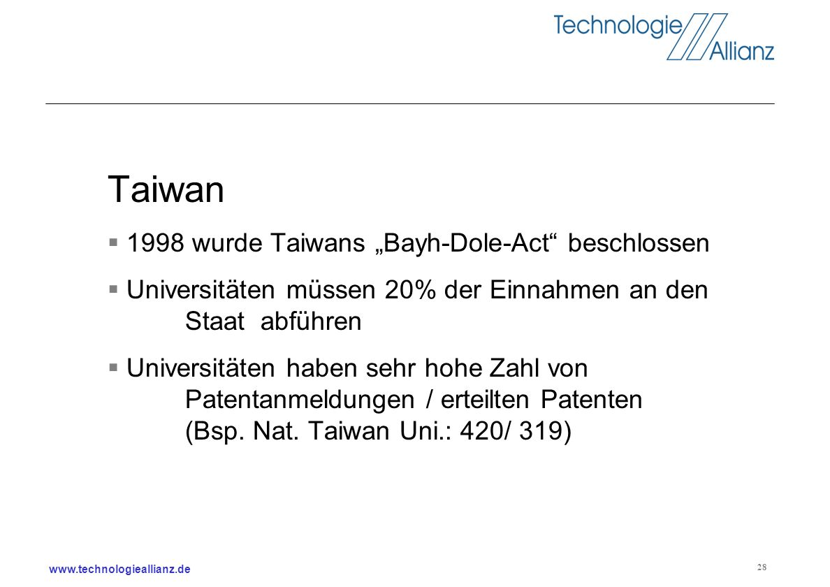 "Taiwan 1998 wurde Taiwans ""Bayh-Dole-Act beschlossen"