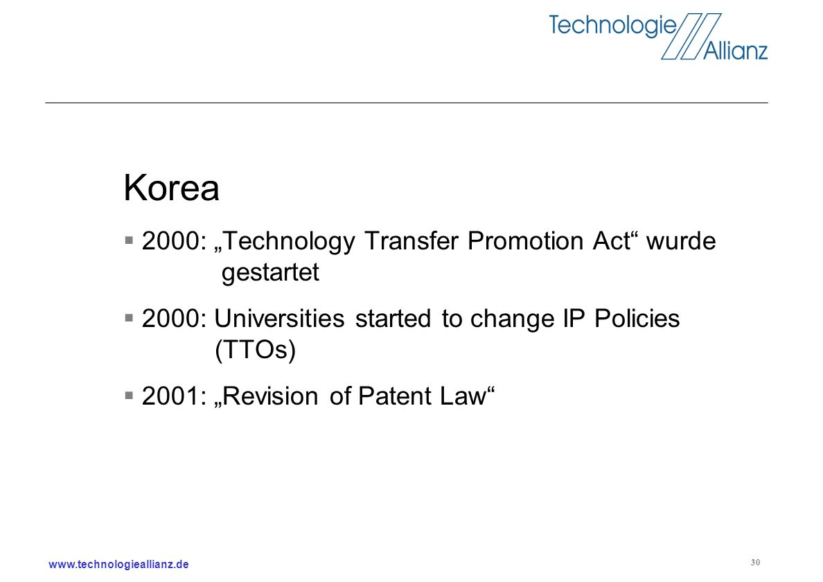 "Korea 2000: ""Technology Transfer Promotion Act wurde gestartet"