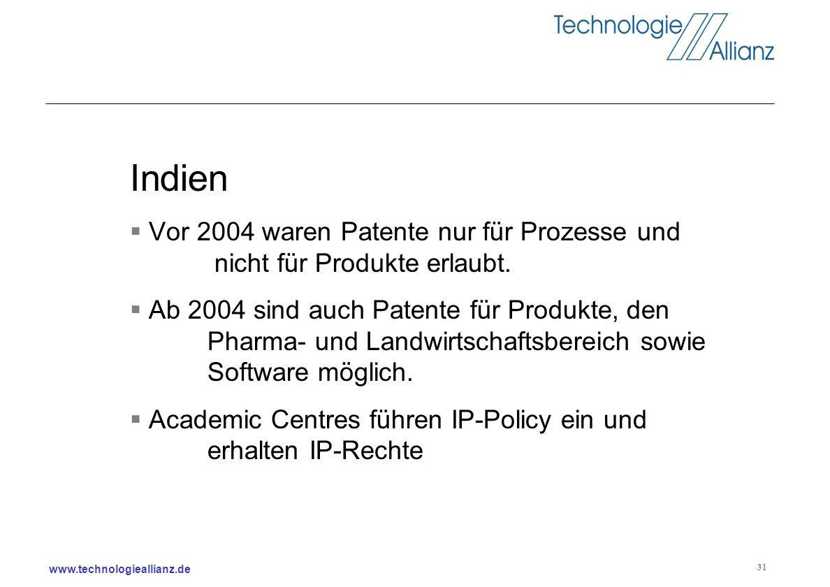 Indien Vor 2004 waren Patente nur für Prozesse und nicht für Produkte erlaubt.