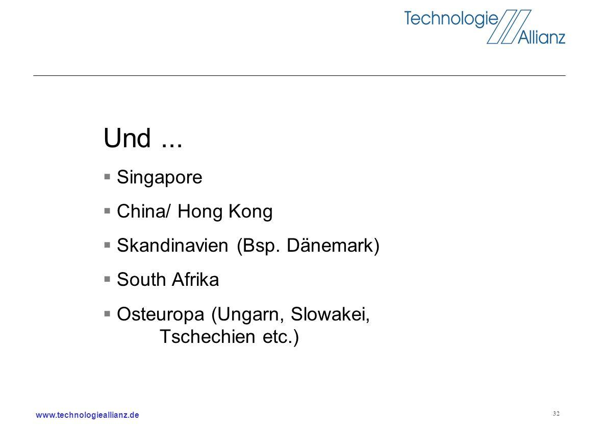 Und ... Singapore China/ Hong Kong Skandinavien (Bsp. Dänemark)