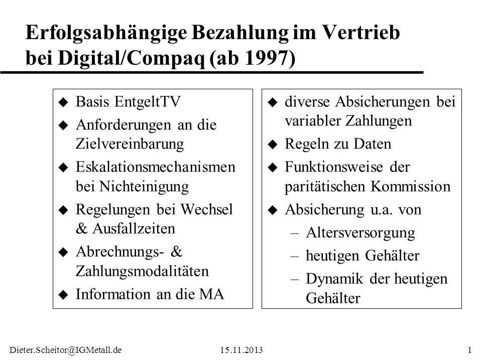 Erfolgsabhängige Bezahlung im Vertrieb bei Digital/Compaq (ab 1997)