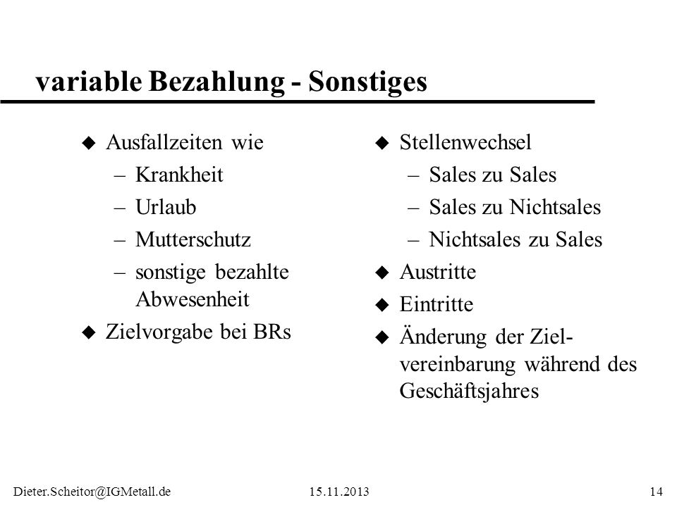 variable Bezahlung - Sonstiges