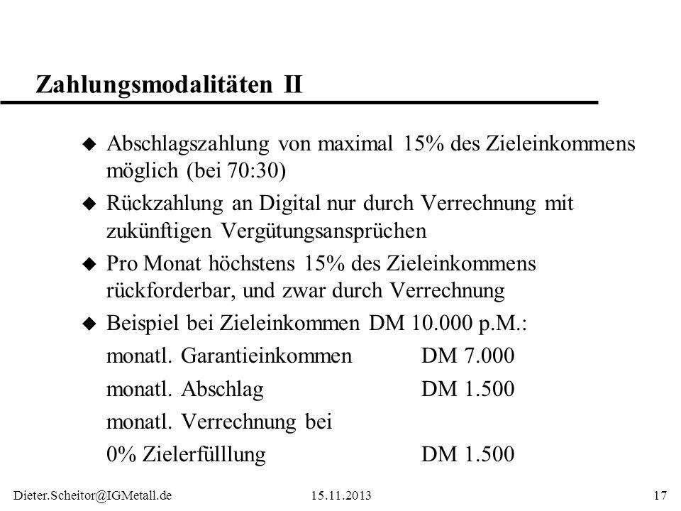 Zahlungsmodalitäten II