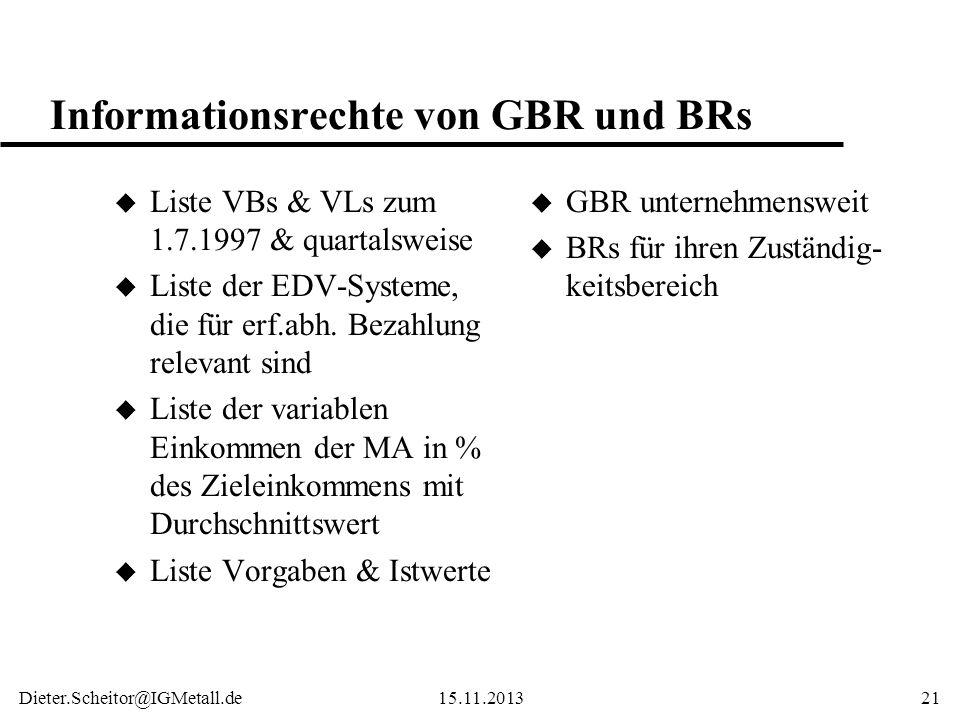 Informationsrechte von GBR und BRs