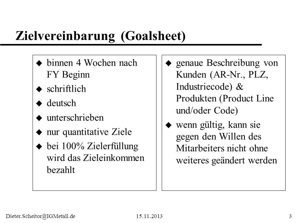 Zielvereinbarung (Goalsheet)