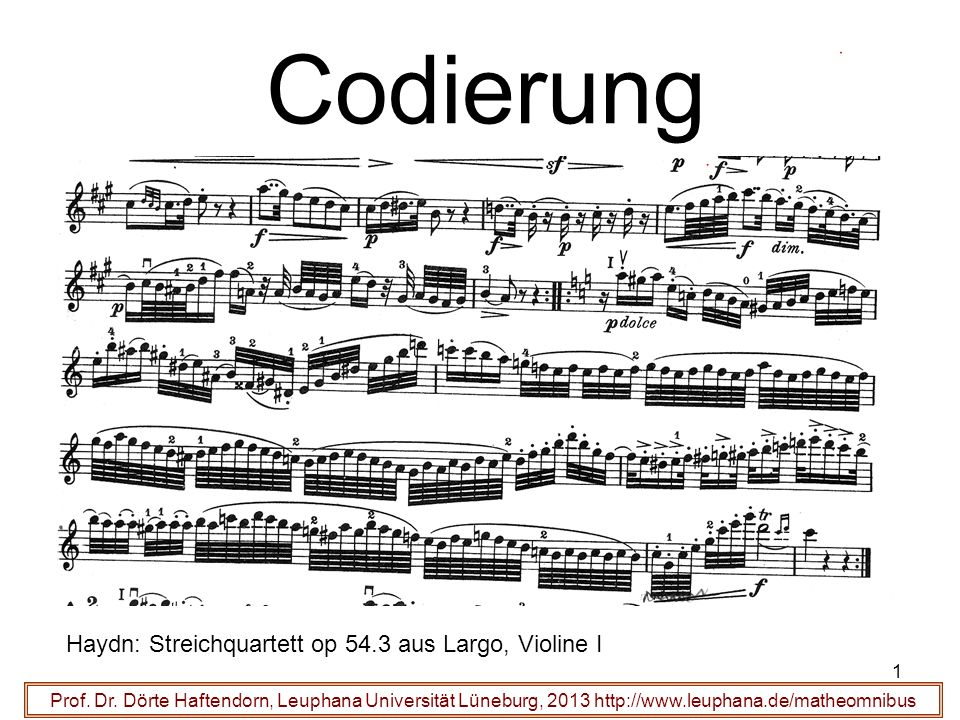 Codierung Haydn: Streichquartett op 54.3 aus Largo, Violine I