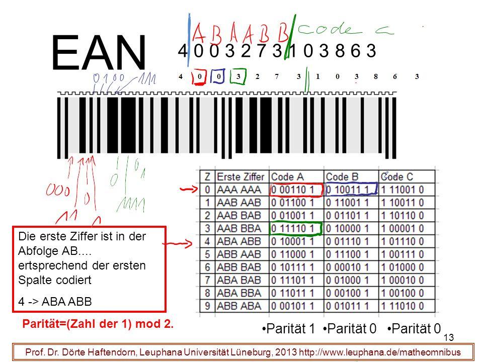 EAN 4 0 0 3 2 7 3 1 0 3 8 6 3 Parität 1 Parität 0 Parität 0