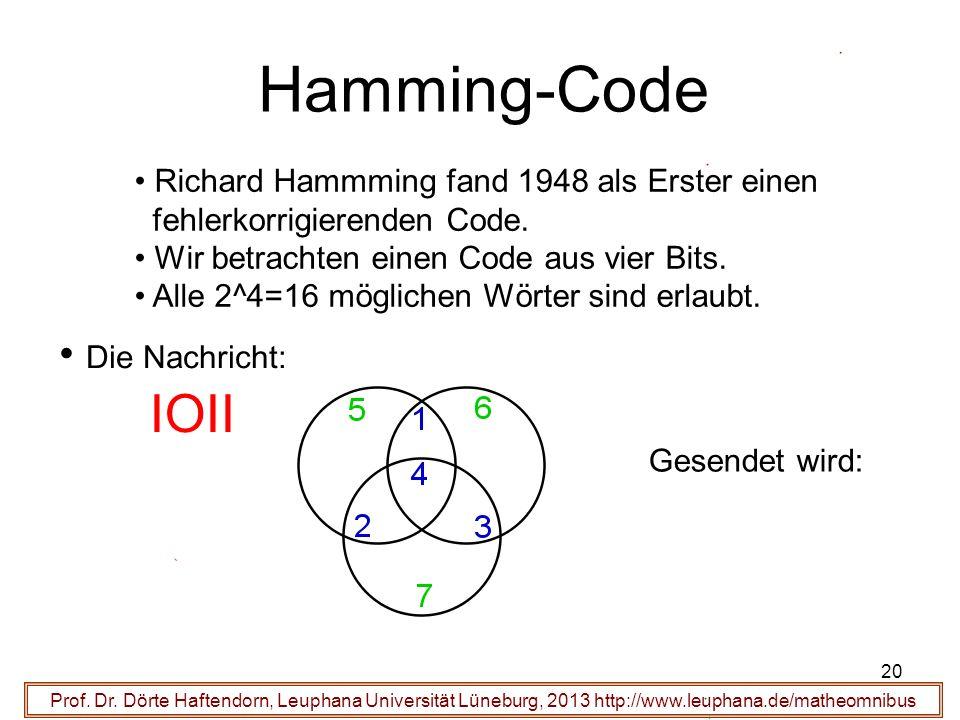 Hamming-Code IOII Die Nachricht: