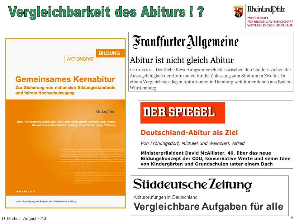 Vergleichbarkeit des Abiturs !
