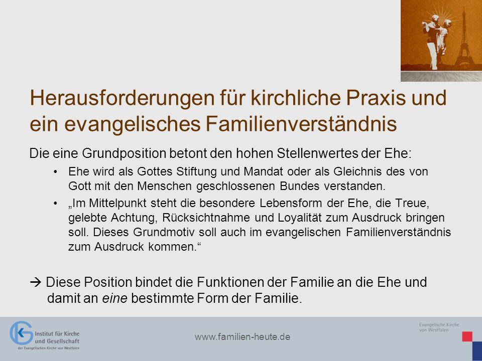 Herausforderungen für kirchliche Praxis und ein evangelisches Familienverständnis