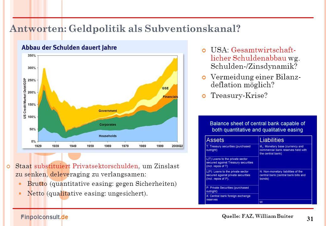 Antworten: Geldpolitik als Subventionskanal