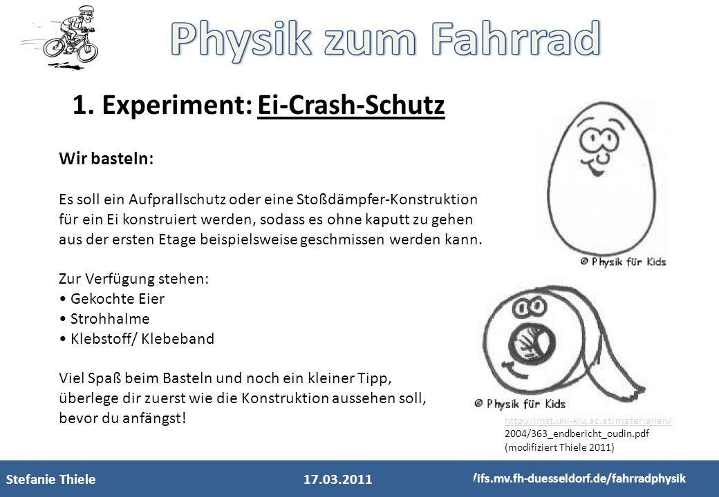 1. Experiment: Ei-Crash-Schutz