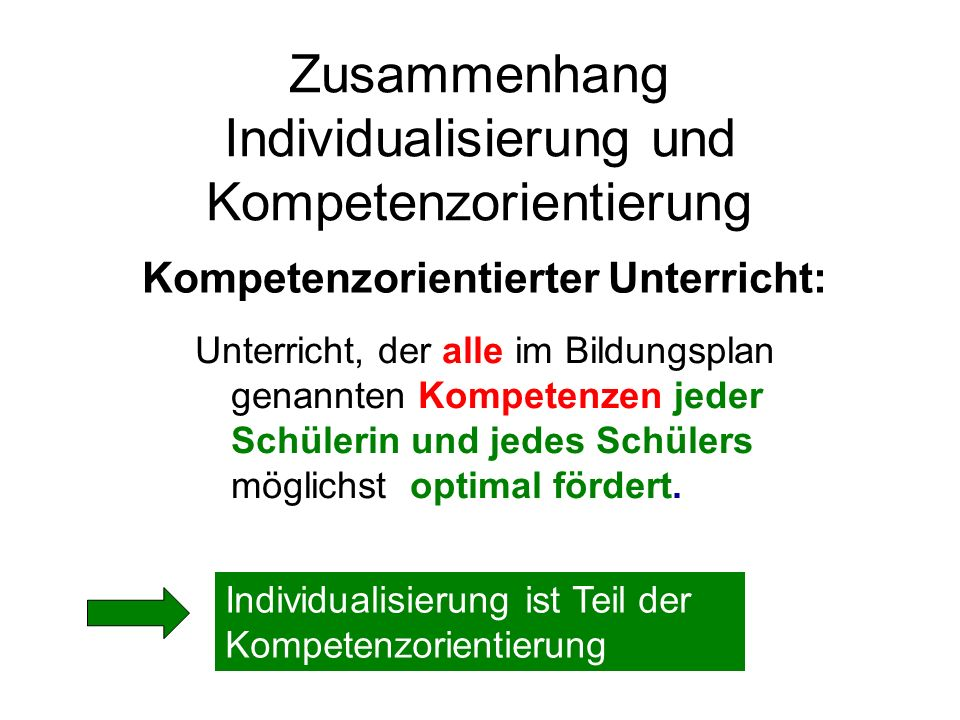 Zusammenhang Individualisierung und Kompetenzorientierung