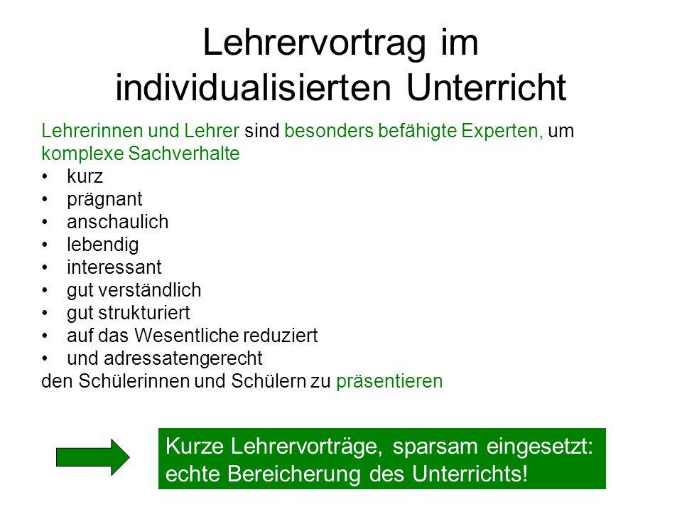 Lehrervortrag im individualisierten Unterricht