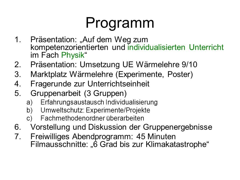 """Programm Präsentation: """"Auf dem Weg zum kompetenzorientierten und individualisierten Unterricht im Fach Physik"""