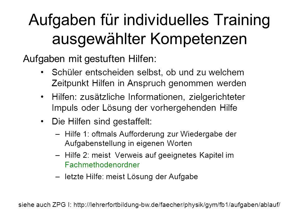 Aufgaben für individuelles Training ausgewählter Kompetenzen