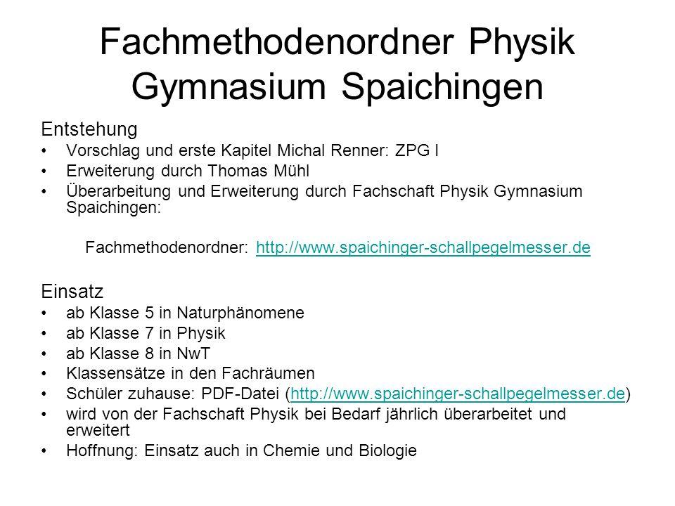 Fachmethodenordner Physik Gymnasium Spaichingen