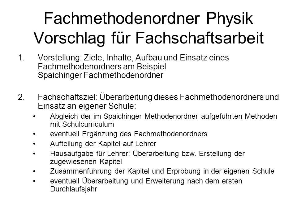 Fachmethodenordner Physik Vorschlag für Fachschaftsarbeit