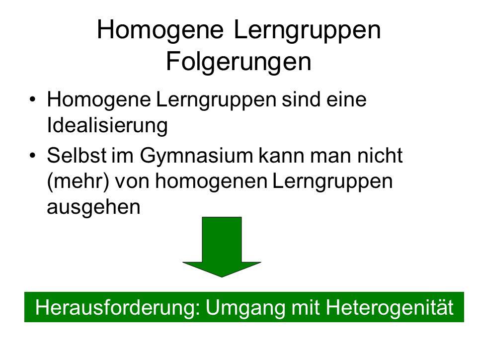 Homogene Lerngruppen Folgerungen
