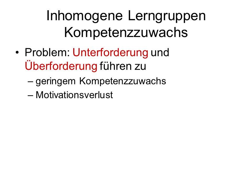 Inhomogene Lerngruppen Kompetenzzuwachs