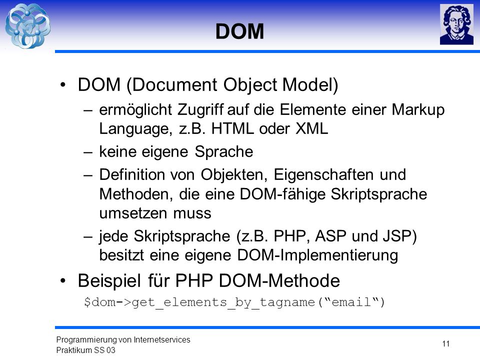 DOM DOM (Document Object Model) Beispiel für PHP DOM-Methode