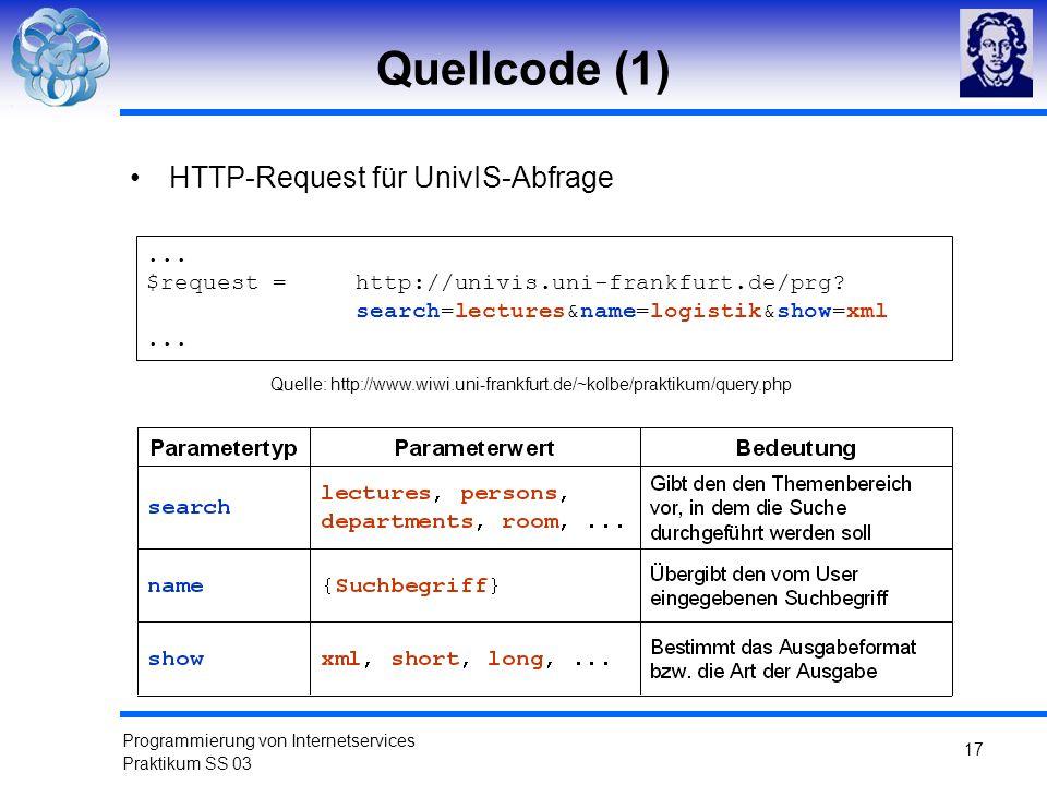 Quellcode (1) HTTP-Request für UnivIS-Abfrage ...