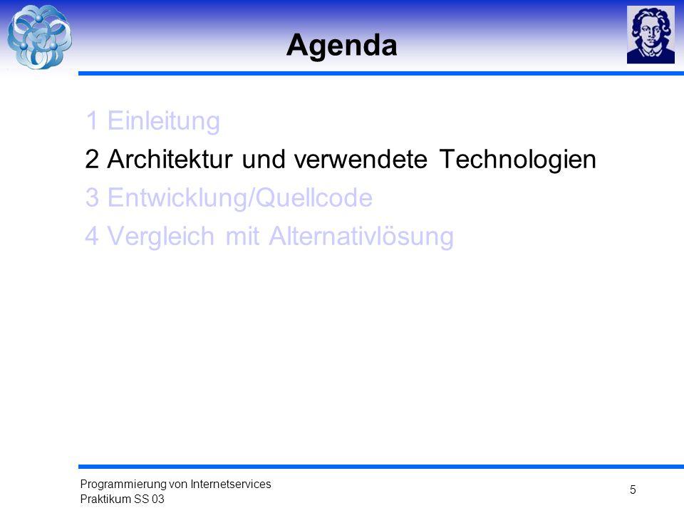 Agenda 1 Einleitung 2 Architektur und verwendete Technologien