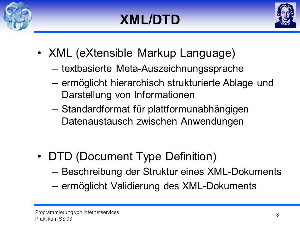 XML/DTD XML (eXtensible Markup Language)