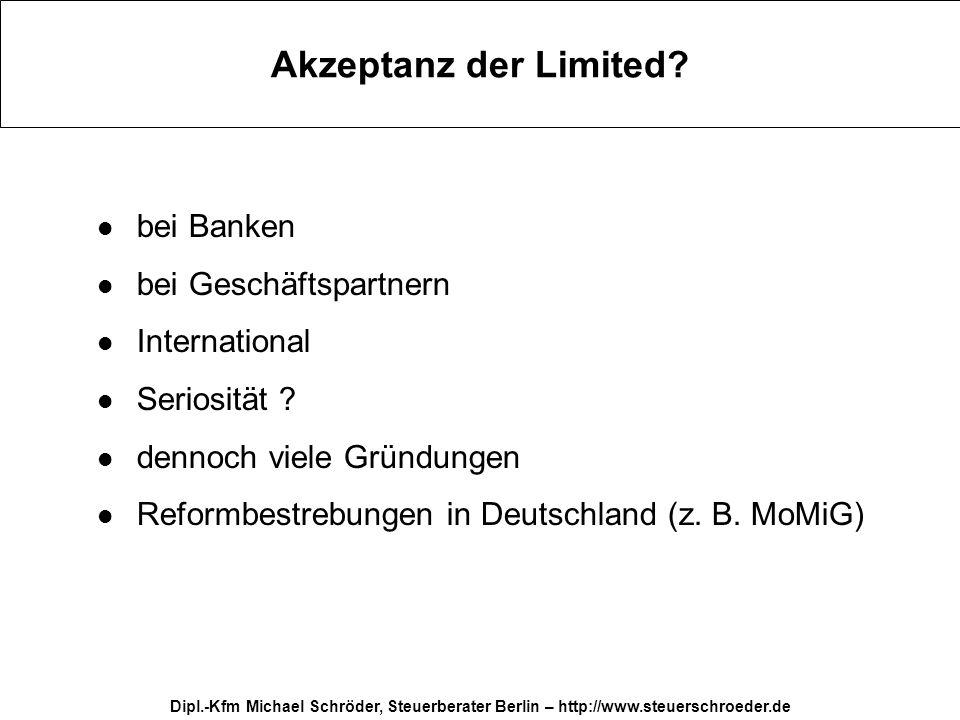 Akzeptanz der Limited bei Banken bei Geschäftspartnern International