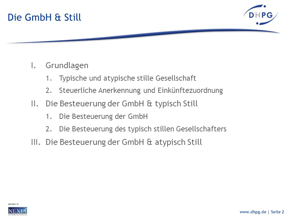 Die GmbH & Still Grundlagen Die Besteuerung der GmbH & typisch Still