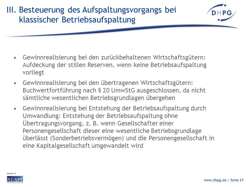 III. Besteuerung des Aufspaltungsvorgangs bei klassischer Betriebsaufspaltung