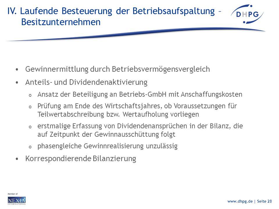 IV. Laufende Besteuerung der Betriebsaufspaltung – Besitzunternehmen