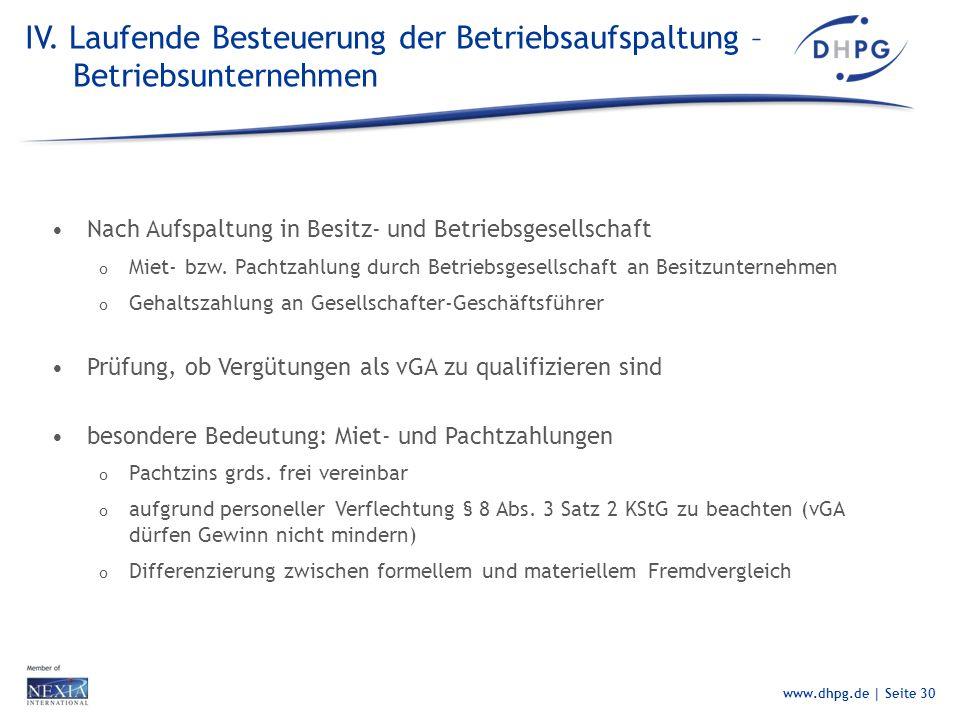 IV. Laufende Besteuerung der Betriebsaufspaltung – Betriebsunternehmen