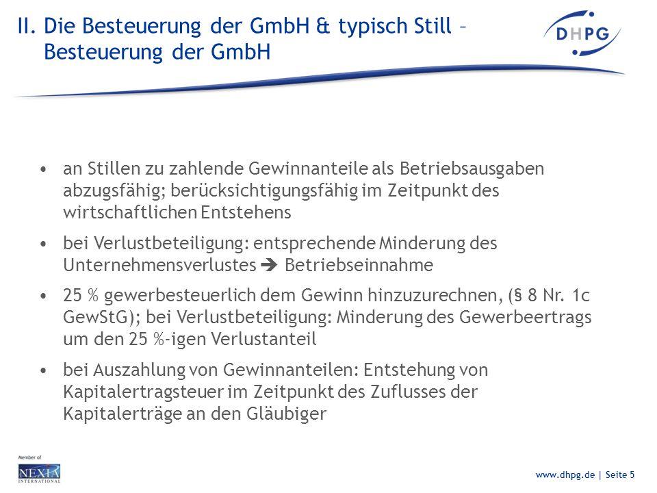 II. Die Besteuerung der GmbH & typisch Still – Besteuerung der GmbH