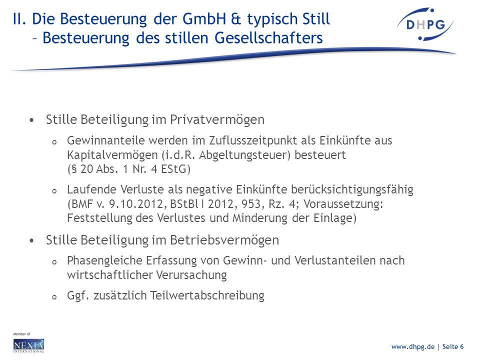 II. Die Besteuerung der GmbH & typisch Still – Besteuerung des stillen Gesellschafters