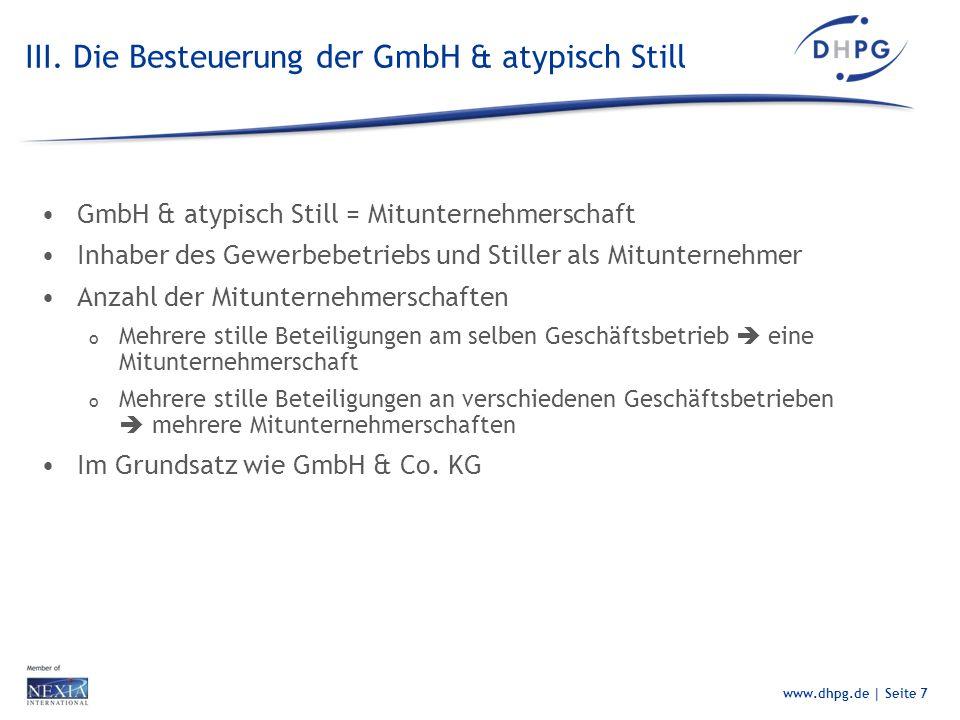 III. Die Besteuerung der GmbH & atypisch Still