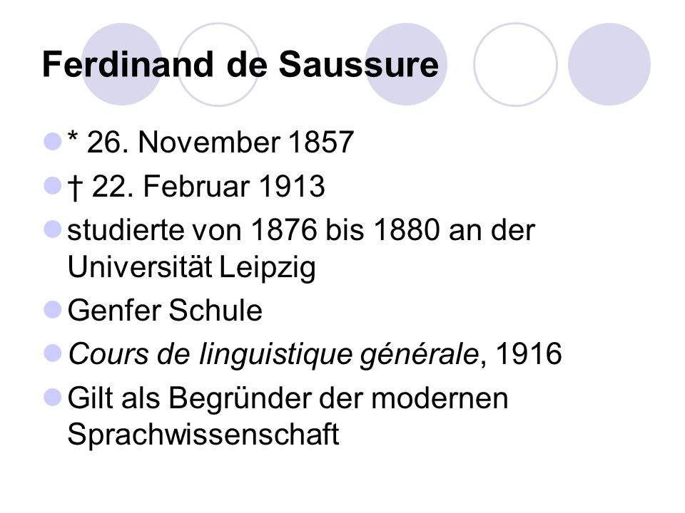 Ferdinand de Saussure * 26. November 1857 † 22. Februar 1913
