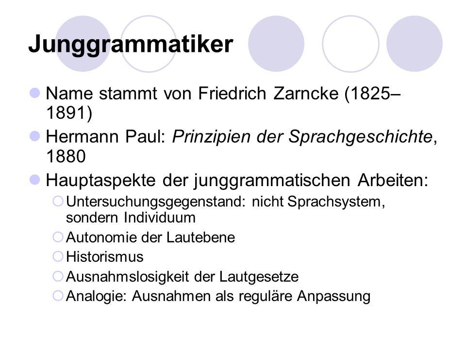 Junggrammatiker Name stammt von Friedrich Zarncke (1825–1891)