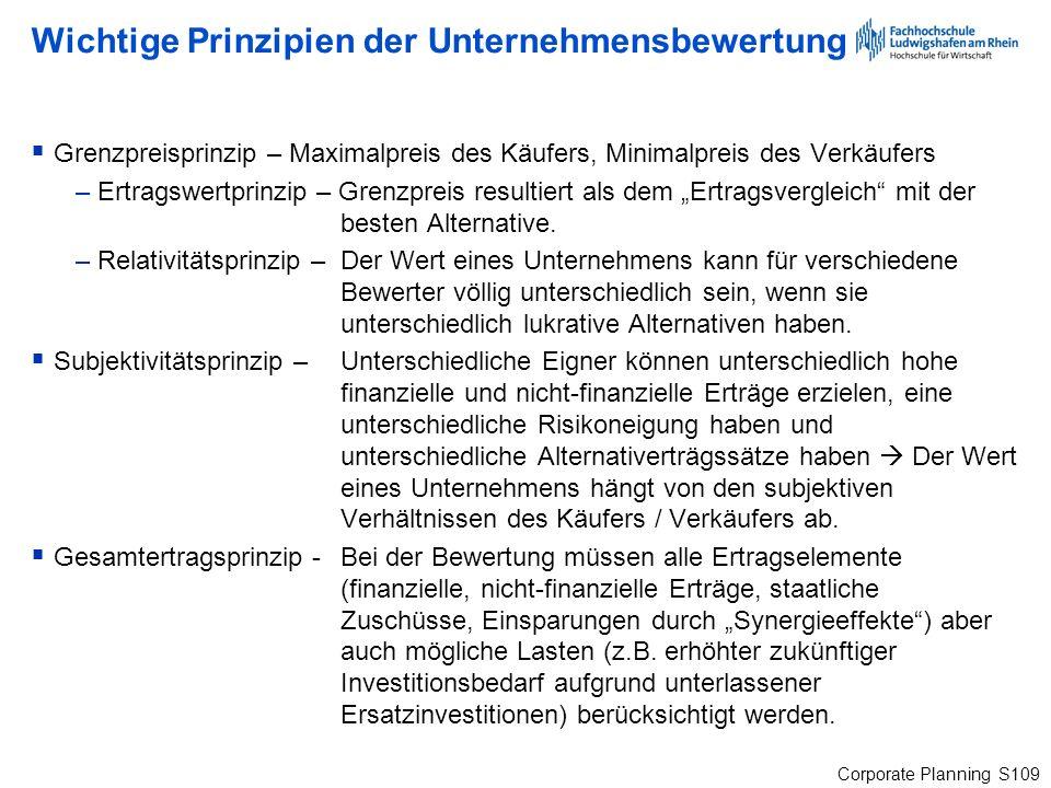 Wichtige Prinzipien der Unternehmensbewertung