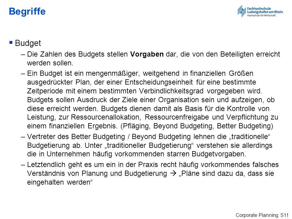 BegriffeBudget. Die Zahlen des Budgets stellen Vorgaben dar, die von den Beteiligten erreicht werden sollen.