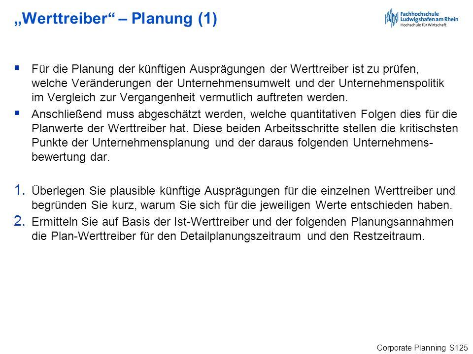 """""""Werttreiber – Planung (1)"""