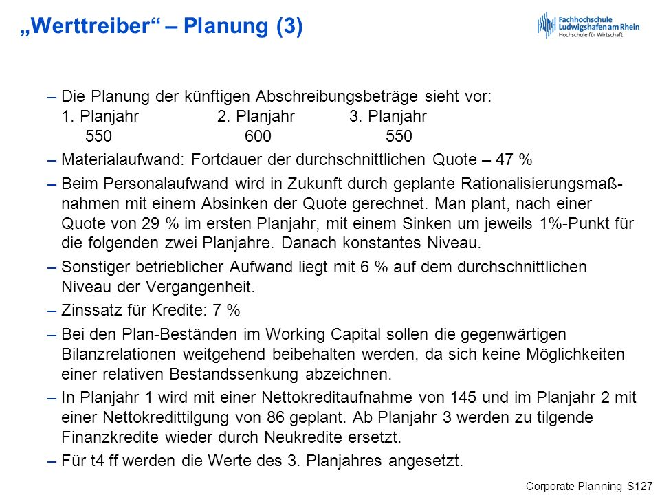 """""""Werttreiber – Planung (3)"""