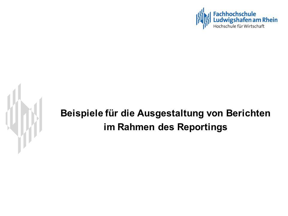 Beispiele für die Ausgestaltung von Berichten im Rahmen des Reportings