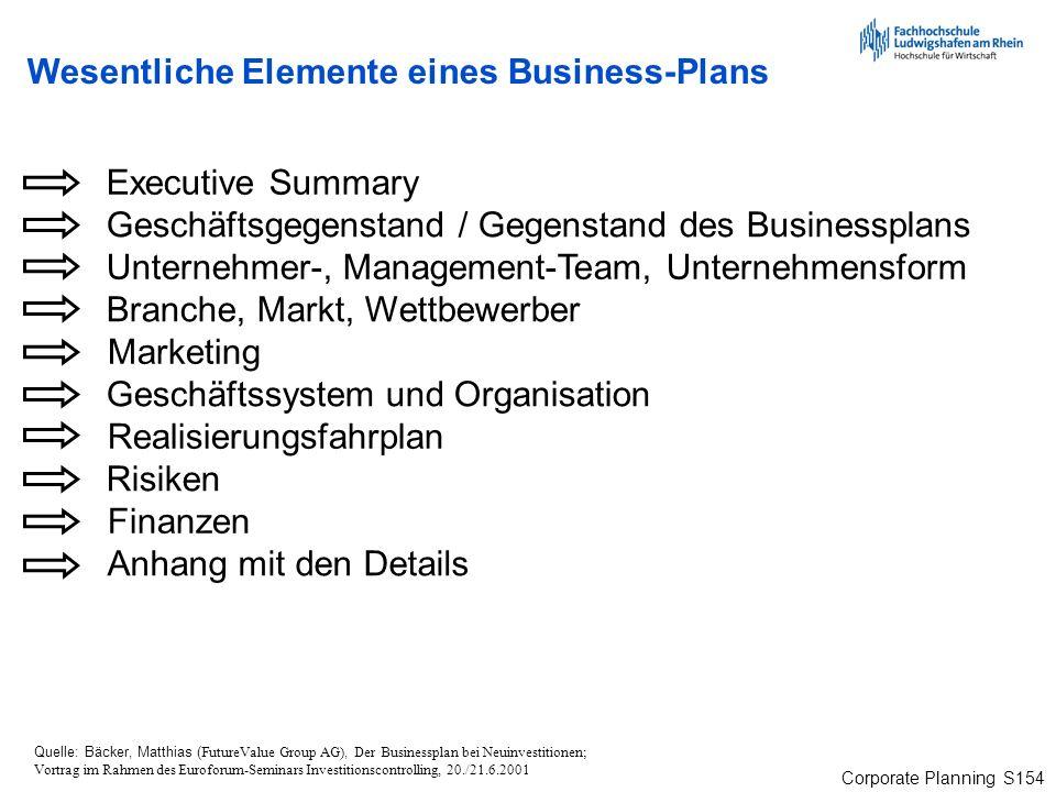 Wesentliche Elemente eines Business-Plans